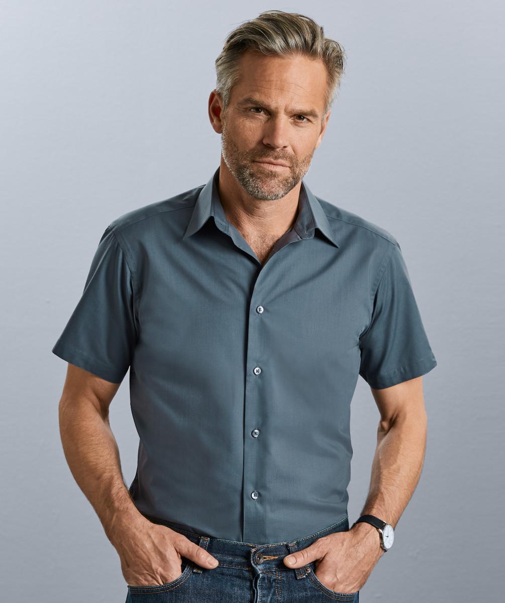 Men's Short Sleeve Poly-Cotton Easy Care Tailored Poplin Shirt