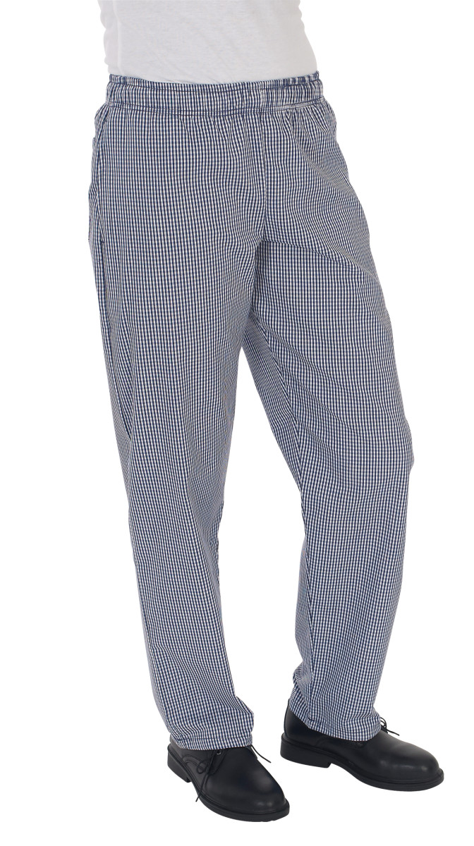 Blue/White Check Fully Elasticated Trouser