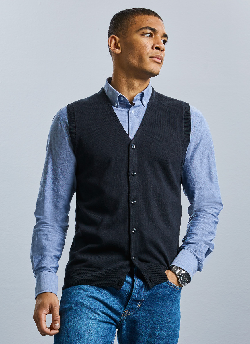Russell Collection Mens S/Less Cardigan